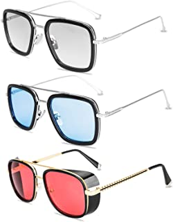 Tony Stark Sunglasses 3 Pack-Vintage Aviator Square Metal, 3 Color, Size No Size