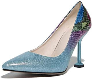 Gradient Color Patent Leather High Heels For Banquet Wedding Dress Daily (Color : Blue, Size : 35)