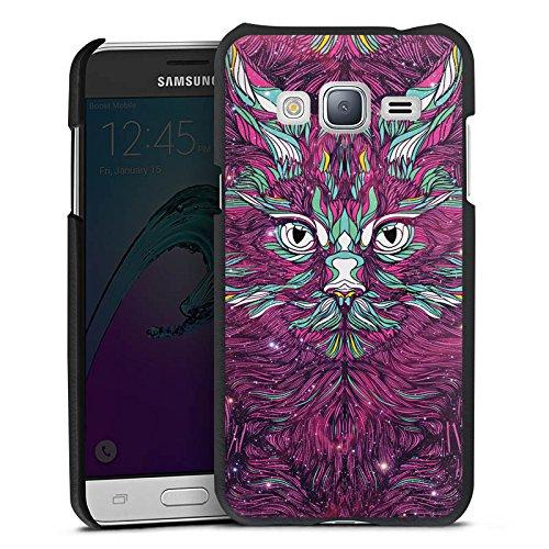 DeinDesign Cover kompatibel mit Samsung Galaxy J3 Duos 2016 Lederhülle schwarz Leder Hülle Leder Handyhülle Space Cat Katze Cat