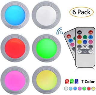 Sorxine Under Cabinet LED Lights 2 Wireless Remote Control Color Changing LED Under Counter Puck Light,RGB Puck Lights,Closet Light,Stick On Lights Battery Powered (Pack of 6)