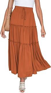 Skirts for Women Boho Elastic Waisted Drawstring Swing...