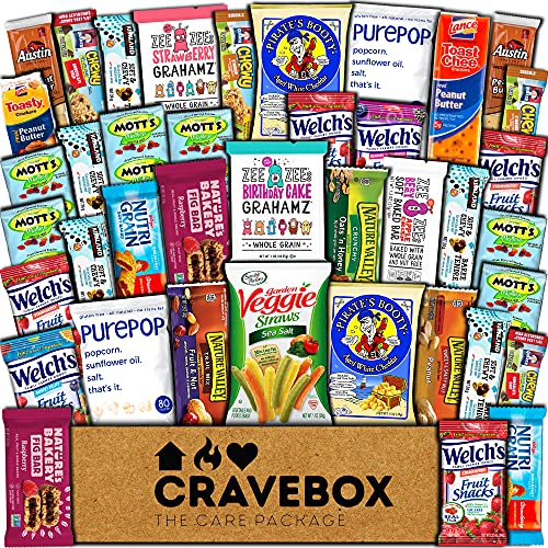 CraveBox Healthy Care Package (40 Count) Natural Food Bars Nuts Fruit Health Nutritious Snacks Variety Gift Box Pack Assortment Basket Mix Sampler College Students Final Exams Office Father's Day