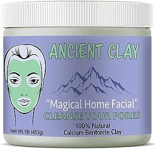 Ancient Clay Natural 100% Calcium Bentonite Green Clay Powder All Natural Facial and Body Mud Mask For Deep Pore Cleansing Skin Rejuvenating and Acne