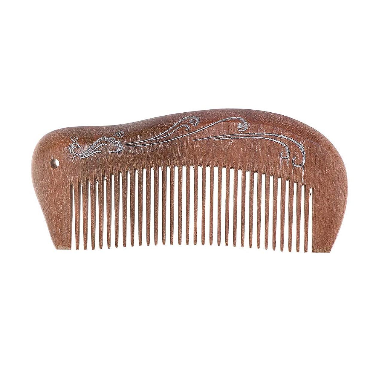 同僚発生対抗天然のビャクダンの木の細い広い歯のもつれを解消するヘアブラシのひげの櫛 - 12.5×5.5 cm