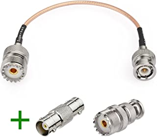 Superbat RF coaxial BNC Male to UHF Female SO239 Connector Extension Cable + 2pcs BNC Adapter BNC Male to UHF SO239 Adapter for Ham Radio Baofeng Handheld Antenna Cable Assembly