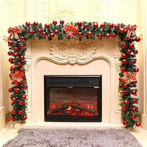 Décoration Noël Guirlande de Sapin de 180 CM Nœud Rouge Pommes de Pin Balls Fleurs Feuilles Pour la fête de Noël