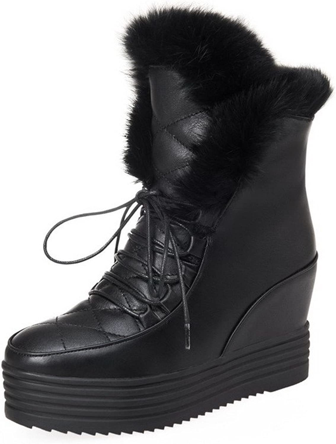 WeenFashion Women's Solid Pu High-Heels Round Closed Toe Lace up Boots