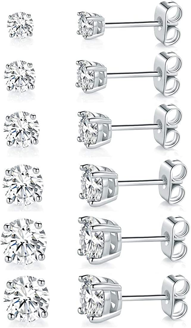18K White Gold Plated Max 82% OFF 4 Pong Stud Miami Mall Clear Cubic Zirconia Round Ear
