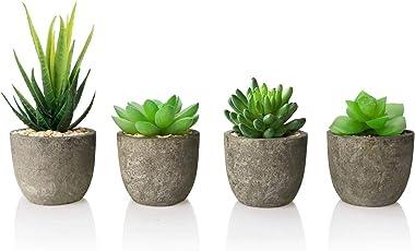 AmzKoi Succulentes Artificielles, 4 pcs Plante Artificielle Interieur, Fausse Plantes avec Pot, Plante Artificielle Deco pour