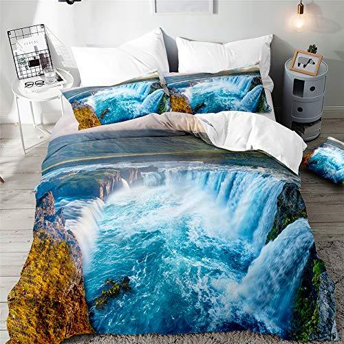 Enhome Bettwäsche Set 3 Teilig für Teen Jungen & Mädchen Bettwäsche, 3D Wasserfall Digitaldruck Mikrofaser Bettwaren - mit 1 Reißverschluss Bettbezug und 2 Kissenbezug (Klippengletscher,135x200cm)