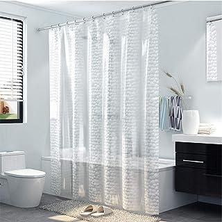 Rubik 3D Eva Shower Curtain Waterproof Luxury Semi Transparent Clear White Mildew Stain Resistant Curtain (180x180cm)