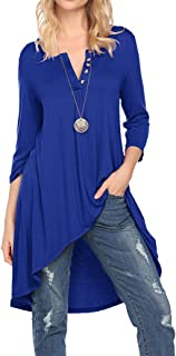 Naggoo Women's 3/4 Sleeve V Neck Henley Casual Loose Tunic Tops Soft Ladies Long Tshirts Button Up Blouses Tees S-3XL