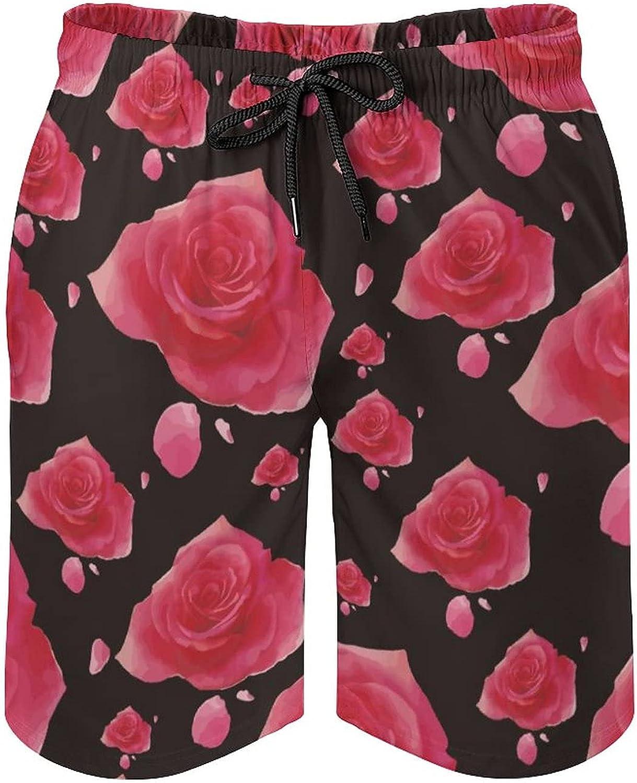 Men's Fashion Summer Soft Board Shorts Pink Rose Floral Black Background