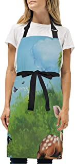 YIXKC Apron Twilight Crescent Moon Doe Grass Story Book Adjustable Neck with 2 Pockets Bib Apron for Family/Kitchen/Chef/Unisex