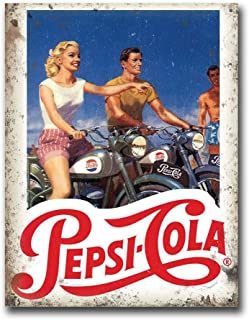 Pepsi Cola Motorcycles Vintage Retro Tin Sign Metal Sign TIN Sign 7.8X11.8 INCH