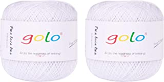 Crochet Thread Yarns for Begingers Size 20 (2-Pack) Contton Yarn for Knitting Crochet Thread Balls 31 Colors Avilable (Pure White)