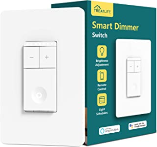 Treatlife Smart Dimmer Switch, Neutral Wire Needed, 2.4Ghz Wi-Fi Light Switch, Compatible with Alexa and Google Assistant, Schedule, Remote Control, Single Pole (1 PACK)