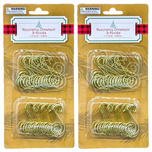 Regent Christmas Ornament Hooks (80 Count Total) Decorative S Hooks, Gold, 1.75 Inch