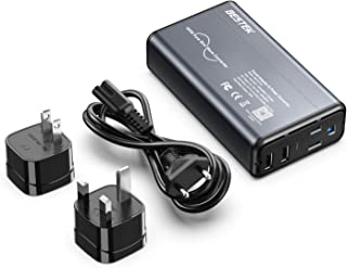 [Pure Sine Wave] BESTEK Universal Travel Adapter Voltage Converter for Hair Straightener/Curler, Step Down 100-240V to 110V Power Converter with Fast USB for UK/France/Italy/AU/Asia etc (Grey-Black)