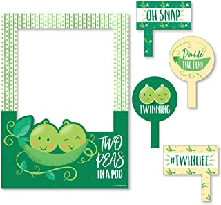 Big Dot of Happiness Double the Fun - Twins Two Peas in a Pod - Baby Shower or First Birthday Party Selfie Photo Booth Picture Frame and Props - Printed on Sturdy Material