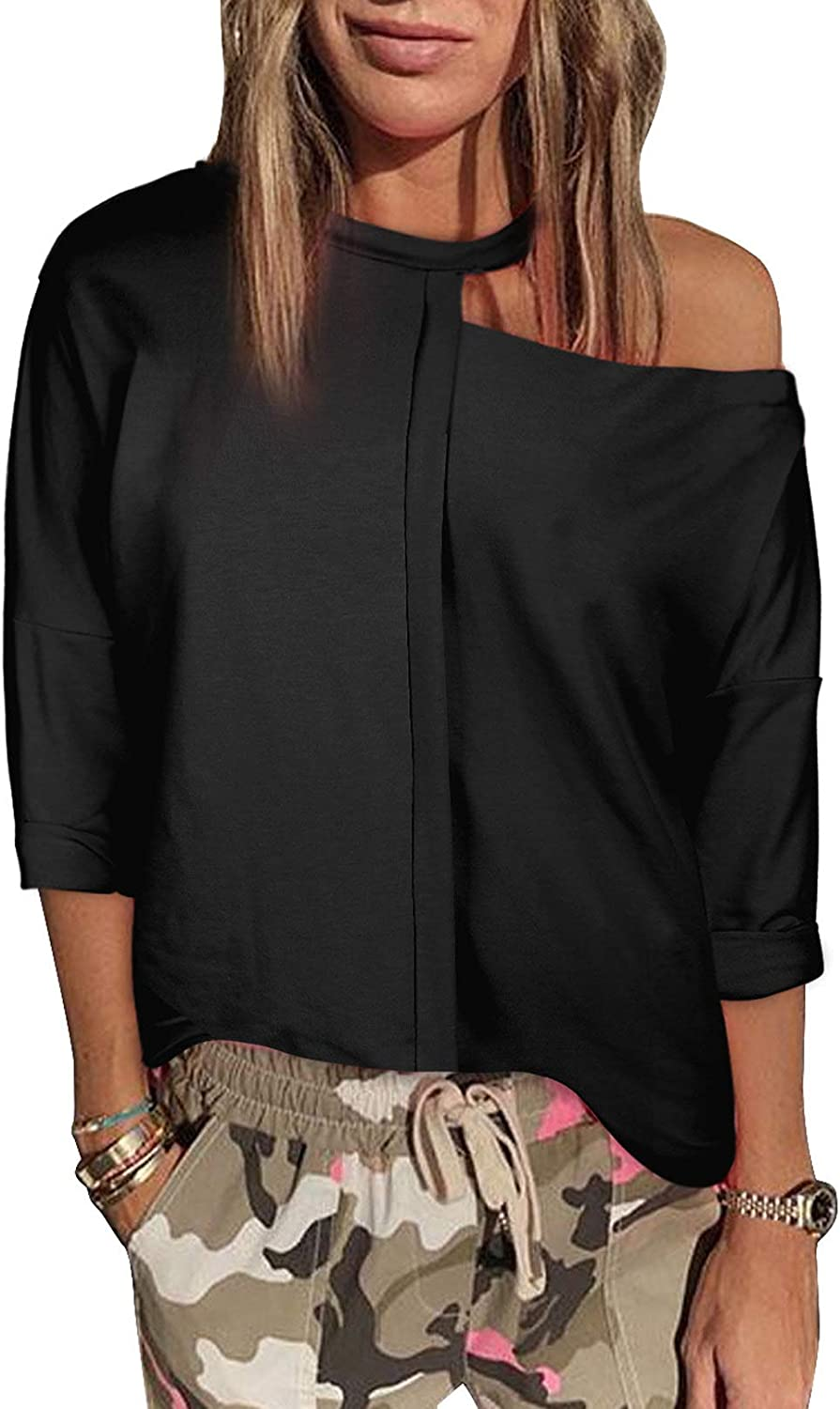 LOSRLY Womens Casual Cold Shoulder Long Sleeve Cut Out Pullover Sweatshirt Loose Tops