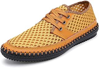 Shangruiqi Fashion Sneakers for Men Perforated Walking Shoes Lace Up Casual Slip On Stitch Round Toe Anti-Slip Breathable Lightweight Adjustable Anti-Wear (Color : Yellow, Size : 6 UK)