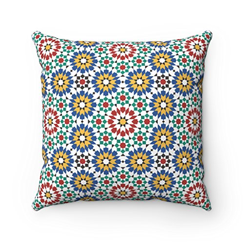 Fundas de cojín marroquí, diseño de mosaico, estilo árabe morisco, Zellige, funda de almohada – decoración del hogar, 43 x 43 cm (rojo, verde y azul)