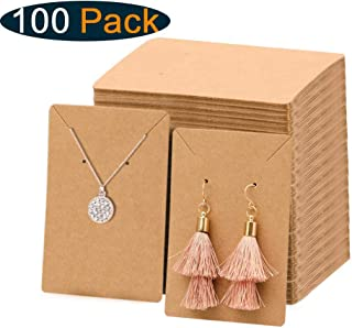 Xpurc 100 Set Kraft Paper Earring Display Cards with 100 Pcs Self-Seal Bags for Jewelry, Earring and Necklace, Ear Studs Holder Blank Paper Tags for DIY, 3.5'' x 2.4''(Brown)