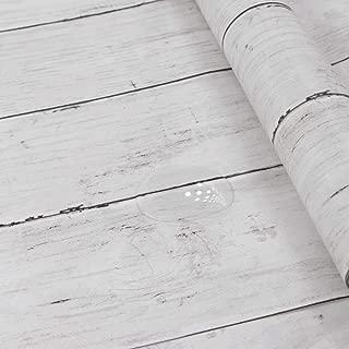 Hode Papel Adhesivo para Muebles, Puerta, Pared,Cocina,Papel Pintado Decorativo Panel Madera, Vintage,Vinilos Decorativos,Madera,Blanco,45X300 cm