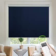 Yoolax Free-Stop Blackout Roller Shade Fabric Material Motorized Blind Cordless Remote Control Room Darkening Privacy Window Blind with Valance (Dark Navy Blue)