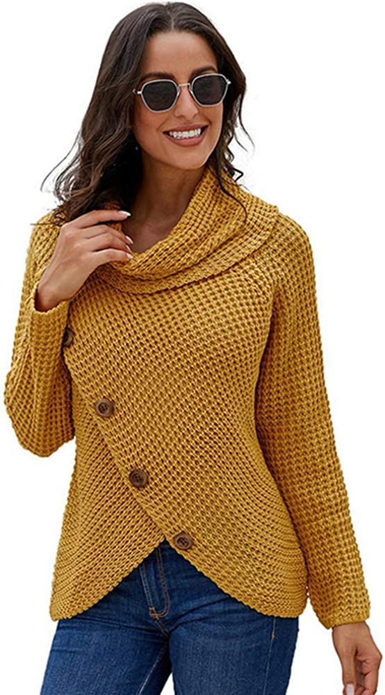 All items in the store Women's Button Turtle Cowl Neck Hem Sweater Knit Asymmetric 5% OFF Wrap