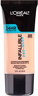 L'Oreal Paris Makeup Infallible Up to 24HR Pro-Glow Foundation, 203 Nude Beige, 1 fl. oz.