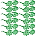 24 St. Patricks Day Shamrock Sunglasses Green Shutter Shades Clover Glasses Bulk for Kids Adults Party Favors Accessories