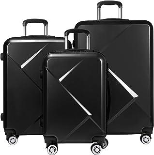 "Tiktun Luggage Sets,PC+ABS Hardshell Lightweight Durable Spinner Wheels Suitcase with-TSA Lock, Black, 3-Piece (20""/24""/28"")"