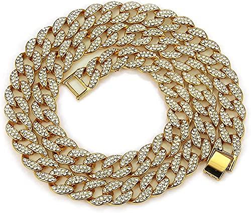 AMOZ Collar de hip hop chapado en oro de 18 quilates con diamantes de imitación de laboratorio y cadena de tenis de rap para hombre, 24 pulgadas