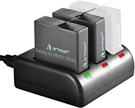 $20 Get Artman GoPro Hero 5/6/7 1480mah Replacement Batteries (2 Pack) and 3-Channel LED USB Charger for GoPro Hero 5 Black, AHDBT-501, AHBBP-501,HERO(2018),HERO 6,Hero 7 Black(Fully Compatible with Original)