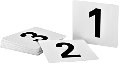 Alpine Industries Double-Sided Plastic Table Numbers - 4x4 Inch Heavy Duty Number Cards - Perfect for Restaurants, Establishments & Special Events or Functions (Numbers 1 to 50)