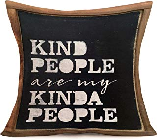 Smilyard Vintage Black Pillow Covers Quote WordsKind People are My Kinda People Decorative Throw Pillowcase Cotton Linen Gift Pillow Covers for Home Sofa 18x18 Inch (VQ06)