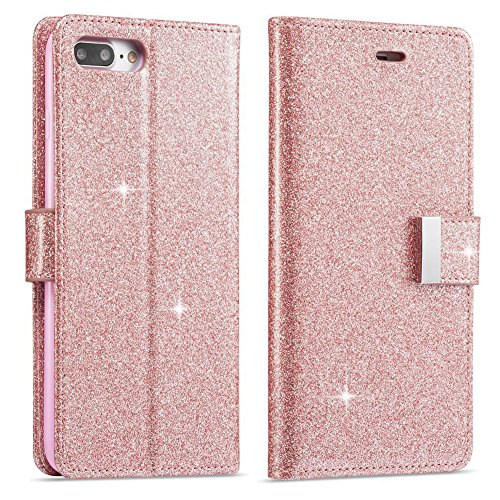 For iPhone 8 Plus Wallet Case, iPhone 7 Plus Leather Cover, Shiny Sparkle Glitter Bling PU Leather [Magnetic Closure][Metal Buckle] Flip Kickstand Wallet Case with 5 Card Slots-Rose Gold