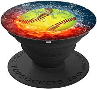 Cool Softball Fire and Ice Player Gift Design For Girls Team - PopSockets Grip and Stand for Phones and Tablets