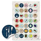 35 pegatinas pequeñas redondas de colores con hierbas y frutas y verduras, 3 cm, para decorar recetas, libros de cocina, vasos, libros de recetas, diseño retro