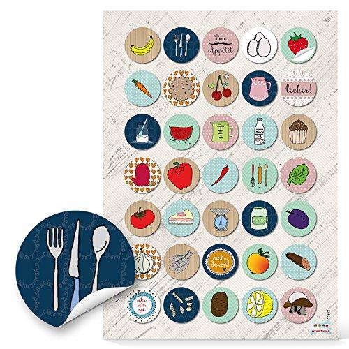 70 piccoli adesivi, rotondi, colorati, per aromi, frutta, verdura, 3 cm, per decorare alimenti da mangiare e da cucinare, ricette, libri di cucina, ricettari, barattoli; in stile rétro
