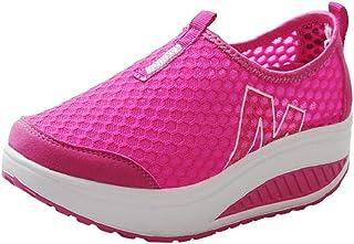 Hoopert-Moda Donna Scarpe Mesh Traspiranti Platform Dimagranti Sportive Basculanti Fitness Scarpe da Ginnastica Sneaker Ze...