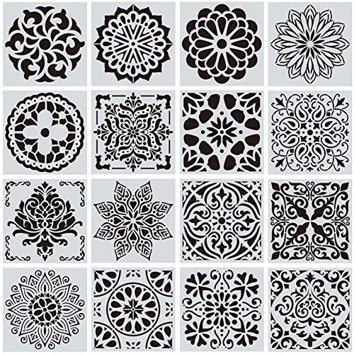 Plantillas de Mandala CHEPL Reutilizables Plantilla Decorativa 16 Piezas Plantillas de Pintura Mandala para La Pared Pintar Paredes, Mobiliario Decoración, Pintar