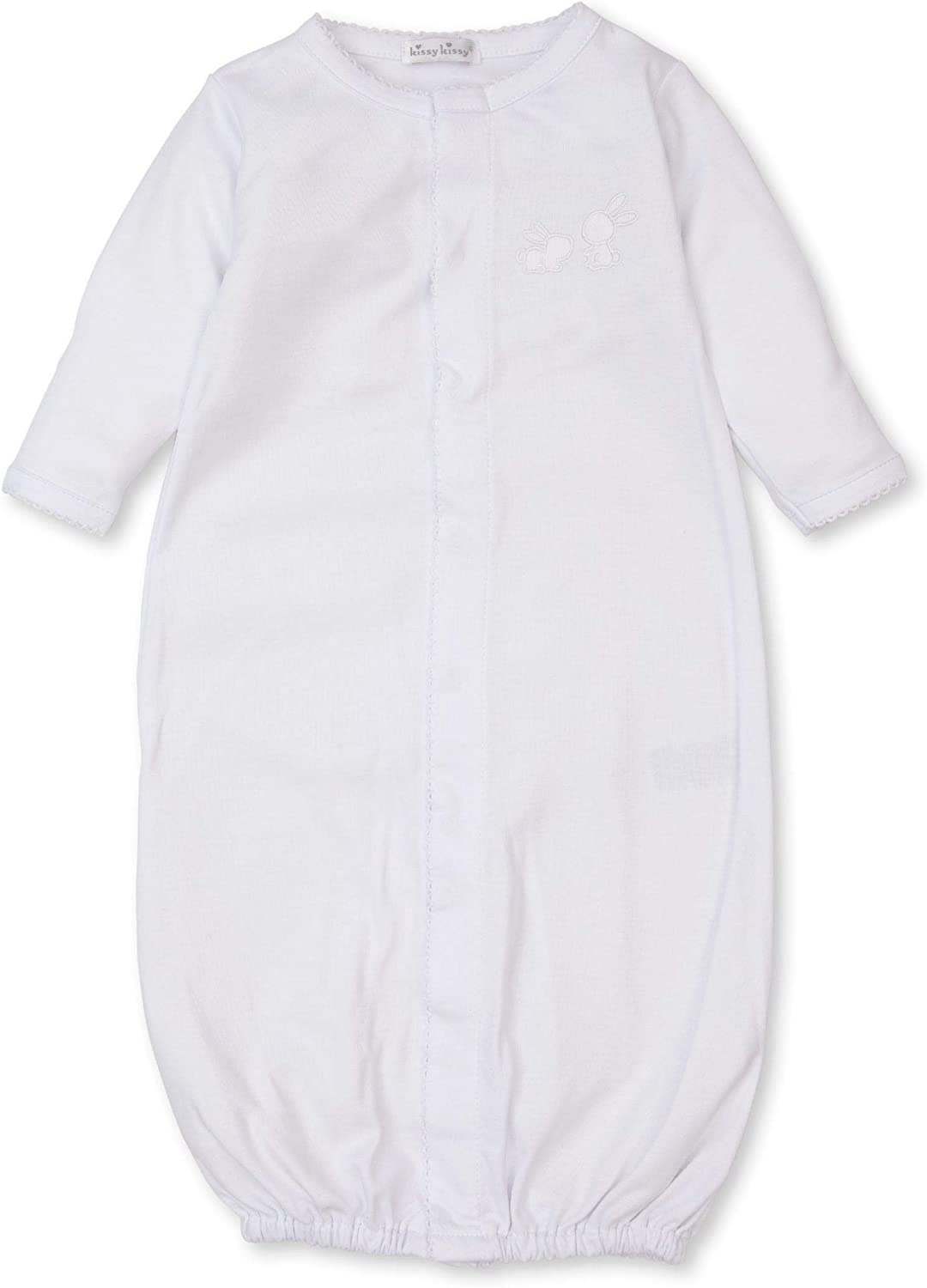 Kissy Kissy Unisex-Baby Infant Pique Bunny Fam Convertible Gown