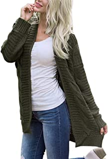 Womens Loose Tunic Sweater Long Sleeve Knitwear Open Front Cardigan Sweaters Casual Outerwear