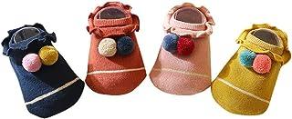 Auxm, Calcetines de bebé para 0 – 4 años, para niños pequeños, niñas, jóvenes, pantuflas antideslizantes y antideslizantes, calcetines suaves y cálidos para niños.