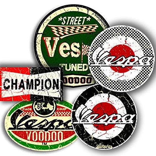Vespa-Aufkleber, 4 Stück, plus gratis Champion-Aufkleber, 77 mm – 95 mm