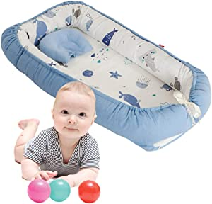 Baby Nest Portable Crib  Newborn Baby Bassinet Bed  Baby Positoner  Multi-Functional Portable  Both Sides Available  Invisible Zipper  Suitable for Bedroom Living Room Travel Office Blue