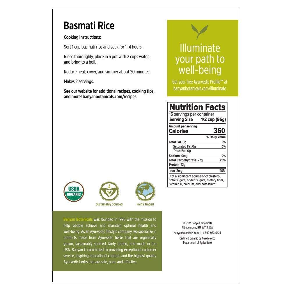 Banyan Botanicals Organic Basmati Rice - Certified USDA Organic - Long-Grain Aromatic Rice Variety - Fluffy & Quick Cooking